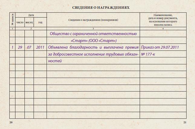 Запись о поощрении в трудовую книжку образец заключается ли трудовой договор на испытательный срок